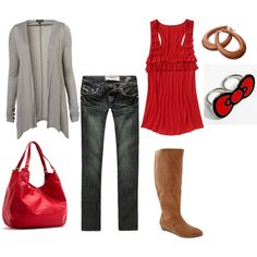 Love Red! Might have to pair this outfit with different earrings, ring and boots though...