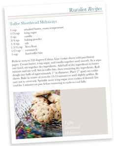 Our Favourite Shortbread Recipe! Toffee Shortbread Meltaways via Ruralist. Toffee Bits, Shortbread Recipes, Corn Starch, Unsalted Butter, Holiday Treats, Tis The Season, Mashed Potatoes, Icing, Vanilla