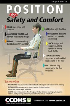 CCOHS - Canadian Centre for Occupational Health and Safety Workplace Safety Tips, Office Safety, Workplace Wellness, Health And Safety Poster, Safety Posters, How To Sit Properly, Safety Pictures, Safety Slogans, Safety Meeting
