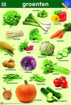 Educatieve posters - Deltas   Poster   Educatheek.nl Dutch Phrases, Dutch Words, Learn Dutch, Learn English, Vegetable Pictures, Dutch Language, Fruit Benefits, Kitchen Herbs, Dutch Recipes