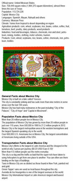 Facts on Mexico for kids http://firstchildhoodeducation.blogspot.com/2013/11/facts-on-mexico-for-kids.html