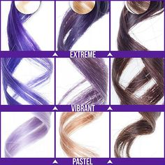 Purple curious? Check out these strand tests swatched on platinum, medium blonde, and medium brown hair!