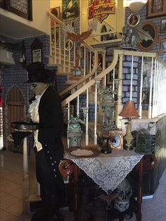 My own props- Halloween 2016- Haunted mansion - formal dining room