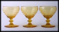 Duncan and Miller Ripple Amber Glass Sherbet Cups Set of 3