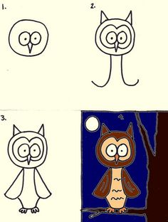 Directed draw Owl Letter Oo activity