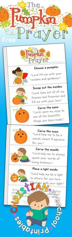 The Pumpkin Prayer Minibook. Free printable Pumpkin Prayer mini-book for homeschool, or children's ministry. This printable booklet is perfect for harvest festivals or trunk-or-treat activities.