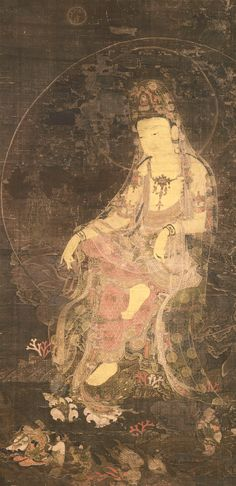 This representation of the Water-Moon Avalokiteshvara portrays the deity's standard attributes: the image of the Buddha Amitabha in his crown; the willow branch that symbolizes healing, displayed in a kundika (a ritual vessel used for sprinkling water) placed in a clear glass bowl to the figure's right; and a full moon at the top of the painting. Depicted in the moon is a hare standing under a cassia tree pounding the elixir of immortality, a theme based on a well-know Chinese legend.