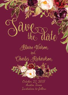 Items similar to Printed Save The Date - Fall Floral Watercolor Wedding - Gold / Burgundy / Marsala / Wine Rustic Wedding - Printable Wedding on Etsy Watercolor Wedding, Watercolor Cards, Floral Watercolor, Invitation Envelopes, Card Envelopes, Invitations, Boho Wedding, Wedding Gold, Rustic Wedding Save The Dates