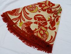 Tree Skirt 19 Khaki & Red Floral Cotton w/ Red by marysbag274, $150.00