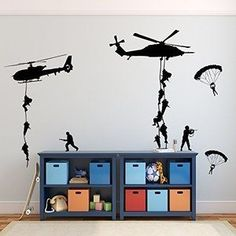Army Wall Decals, Soldiers Parachuting From Helicopters for Kids Playroom, Children, Military Families -- Check out this great image : Handmade Gifts Boys Army Room, Boy Room, Giant Wall Art, Mural Wall Art, Kids Wall Decals, Wall Stickers, Wall Vinyl, Army Bedroom, Teen Bedroom