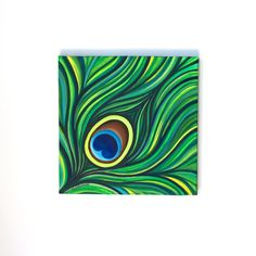 10 x 10 Original Acrylic Abstract Peacock Feather by MegzArt