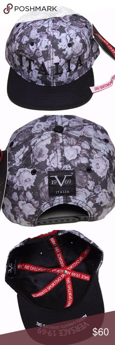 Mens Versace Floral ITALIA Cap Hat One Size Men's Versace Italian cap or hat One size, adjustable in the back Black and shades of gray; some of the shades of gray have a hint of purple or lavender in the color Black ITALIA text on the front Black 1969 V ITALIA tag on the back 6 air holes on the top of the cap Brand new with tags Versace Accessories Hats