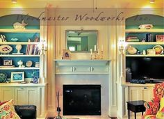Custom Built-In with Mantel and Columns. This is extraordinary with a pop of teal paint and recessed lighting. Project designed, painted and installed by Woodmaster Woodworks based in Wake Forest, NC. We offer free in-home estimates local to our location in 27587.  Other services we provide are including but not limited to: shiplap, wainscoting, panels, arches, kitchens, kitchen islands, desks, hidden passages, window seating, barn doors, trim, wet bar, bathrooms, ceilings, furniture and…