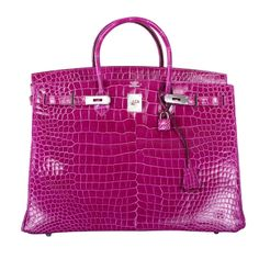 VERY SPECIAL HERMES BIRKIN BAG 40cm POROSUS CROCODILE ROSE SCHEHERAZADE | From a collection of rare vintage handbags and purses at http://www.1stdibs.com/fashion/accessories/handbags-purses/