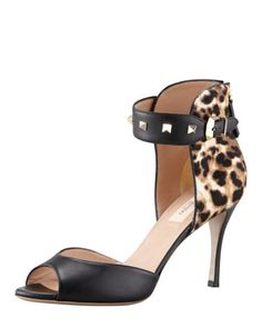 Tuesday, May 14th: Valentino Rockstud Ankle-Strap Leopard Calf Fur-Back Sandal,