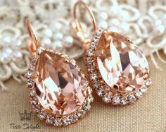 Pink blush peach drop earrings,Bridal earrings rhinestone swarovski crystal jewelry 18k Rose gold plated dangle earrings, bridesmaids gift