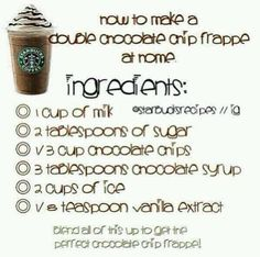 The Starbucks chocolate chip frappe is so good and now you can make it at home!