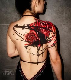 Big Rose Tattoo on Shoulder Blade Tattoo by Dynoz Art Attack Rose Tattoos For Women, Shoulder Tattoos For Women, Back Tattoo Women, Back Tattoos, Tattoos For Guys, Sleeve Tattoos, Shoulder Cover Up Tattoos, Upper Shoulder Tattoo, Blue Rose Tattoos