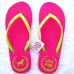 <3 victoria's secret LOVE PINK flip flops