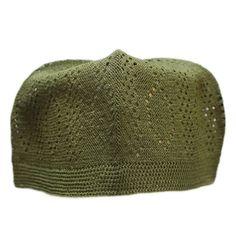 Knit Cotton Kufi Green Muslim men s prayer hat   skull cap One size fits  most Made in Turkey 0efe22232173