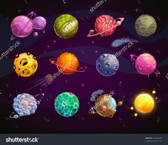 Fantasy colorful planets set. Cool cosmic collection for game design. Vector illustration.