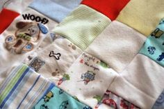 Memory blanket; quilt made up of baby's old clothes, blankets, towels, etc.