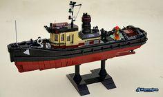 All aboard the workhorse of every port and harbor Lego City, Lego Boat, Lego Ship, Minecraft Architecture, Lego Modular, Lego Design, Lego Worlds, Lego News, Tug Boats