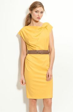 suzi chin for maggy boutique belted cap sleeve sheath. LOVE in yellow.