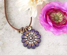 bohemian pendant Rust pink and purple geometric clay pendant with handpainted abstract design hippie pendant lightweight pendant