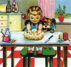 """Illustration by Maria Pia Franzoni for """"Lievito Bertolini"""" advertising - Carefully selected by Gorgonia www. Images Vintage, Vintage Pictures, Vintage Greeting Cards, Vintage Postcards, Vintage Children's Books, Children's Book Illustration, Vintage Prints, Vintage Paintings, Illustrators"""