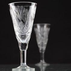2 Vintage Sektgläser aufwendiger Schliff Kristall Gläser antik alt R2M