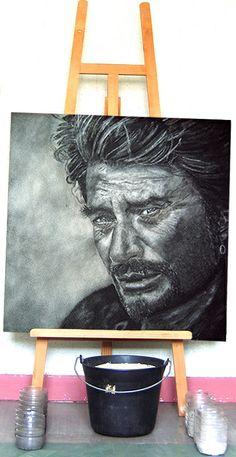 Portrait en sable de Johnny Hallyday. Tableau de sable : 80 x 80cm - http://www.sablemouvant.com/portrait-en-sable-de-johnny-hallyday/
