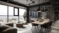 Grey Modern Industrial Apartment Interiors Industrial style lighting over the dining table comes in Industrial Style Lighting, Industrial Interior Design, Industrial Interiors, Interior Lighting, Modern Lighting, Wood Interiors, Industrial Apartment, Industrial Living, Apartment Interior
