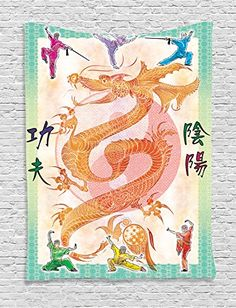 Ambesonne Animal Decor Collection, Asian Theme Chinese Dragon with Martial Arts Figures Japanese Samurai and Ying Yang Picture, Bedroom Living Room Dorm Wall Hanging Tapestry, Multi
