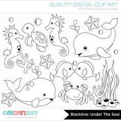 Under the Sea Clip Art / Digital Stamps Clipart  by MyClipArtStore