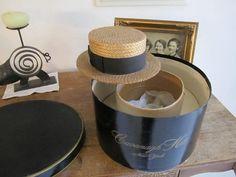 Straw Boater in original Cavanagh hatbox, by ontherebound via Etsy, $100.00