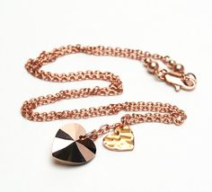 Two+Hearts+Rose+Gold+Necklace++Heart+Charm+Necklace+by+lilicharms,+$27.00