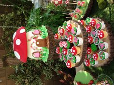 Fairy toadstool mushroom cake and cupcakes