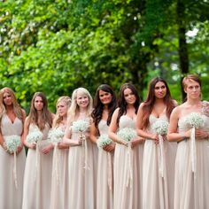 blush bridesmaids dresses + baby's breath bouquets