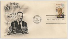 Stamp with first day cover to honor the Senior DeMolay Walt Disney. Selo com carimbo de primeiro dia em homenagem ao Senior DeMolay Walt Disney.