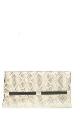 Diane+von+Furstenberg+'440+-+Weave'+Embossed+Metallic+Leather+Envelope+Clutch+available+at+#Nordstrom