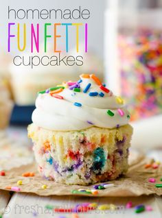 Homemade Funfetti Cupcakes: Ditch that box mix and make those sprinkle-speckled cupcakes yourself!