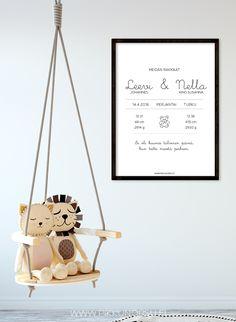 Moderniin personoitavaan korttiin/julisteeseen saat muistiin tärkeimmät tiedot kaksosten syntymäpäivästä.
