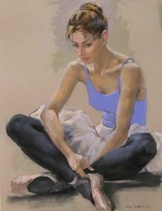 Dancer, in blue, white, and black, sitting forward. Katya Gridneva (Ukraine, 1965-). Gridneva focuses on figurative subjects, painted from life. Her work not only captures the flow of light across her subjects, but also exhibits her in-depth knowledge of the anatomical structure of the human body. She takes a special delight in painting the working bodies of dancers, capturing their grace and elegance.
