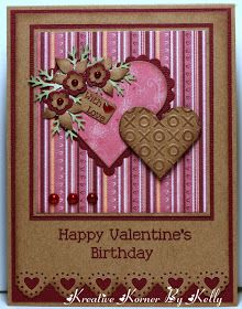 Kreative Korner By Kelly:  using the Martha Stewart Lace Heart edge punch, Heart/scallop Nestibilities and Cuttlebug Hugs and Kisses embossing folder---