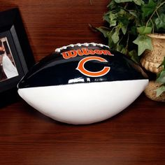 Wilson Chicago Bears Autograph Official Size Football by Wilson. $24.99. Team logo and colors. Inflate 7-9 lbs.. Lacing detail. Screen print logos. Regulation size and weight. Wilson Chicago Bears Full-Size Autograph FootballInflate 7-9 lbs.Team logo and colorsOfficially licensed NFL productRegulation size and weightLacing detailScreen print logosImportedLacing detailScreen print logosRegulation size and weightInflate 7-9 lbs.Team logo and colorsImportedOfficially licensed...