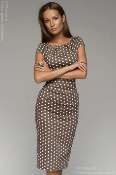 Платье хлопковое кофейное в горошек DM00204BR , коричневый, бежевый в интернет магазине Платья для самых красивых 1001dress.Ru