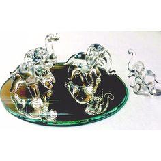 Hand Crafted Glass Elephant Family w/ Bonus Mirror Included - USA Made - Handmade Blown Glass Art Crystal Elephant Decor Figurine Set (Clear) by Flame Art Glass http://amzn.to/1VJIr2t #elephantfamily #vovcyan
