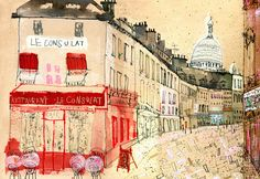 Restaurant Le Consulat, Paris by Clare Caulfield (contemporary), British (clarecaufield)       ​