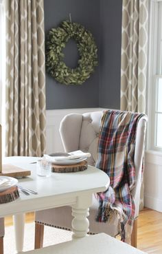 City Farmhouse Fall Tour-Bay Leaf Wreath, Log Slices, Linen Tufted Chairs, Ikat Drapes-West Elm, DIY Art, Wood Chandlier, BM Stormy Sky